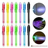 [14 Stück ]Geheimstift mit UV-Licht, Nasharia mehrweg Unsichtbar Schreiben durch Licht UV Stift...