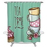 AETTP Kuchen Blume Blatt Kaffeetasse Wasserdichtes Gewebe Duschvorhang Polyester Duschvorhänge Bad Dekoration Zubehör 180 * 180cm