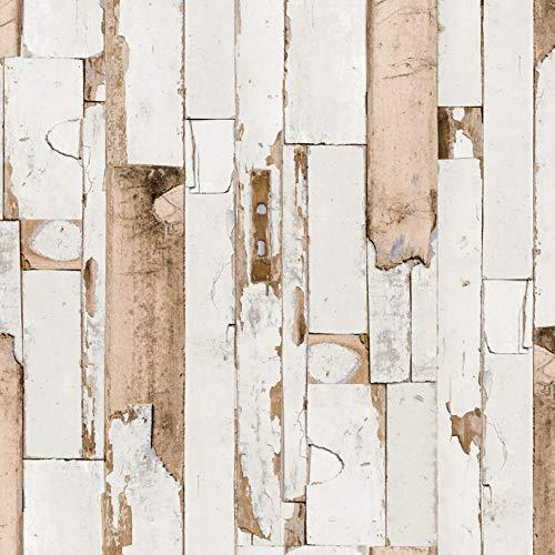 ecosoul Wachstuchtischdecke Door Meterware glatt beige braun Holzoptik Outdoor-Tischdecke Breite 140cm Länge wählbar (100cm)