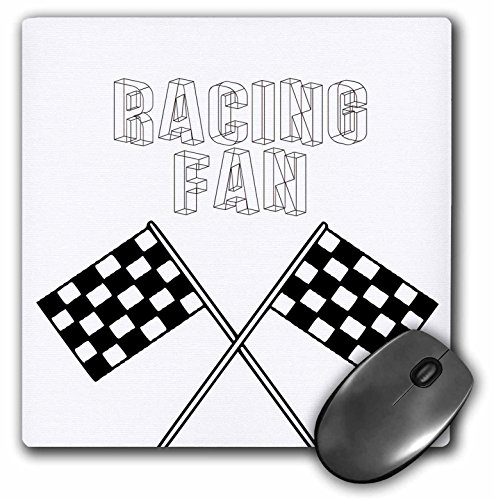 3dRose LLC 8 x 8 x 0.25 Inches Racing Fan Black Checkered Flags, Sports, Race Art Mouse Pad (mp_55653_1)