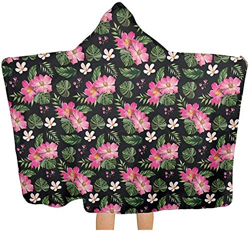 Sdltkhy Hooded Towel Tropical Flowers with Leaves Art Absorbent Hooded Bath Towel Robe Poncho Hooded Towel Microfiber Hooded