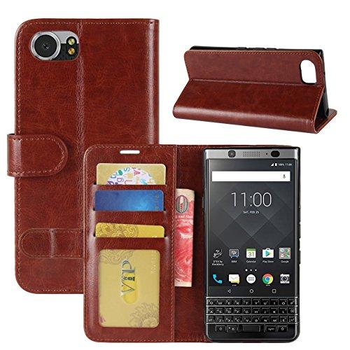 HualuBro BlackBerry KEYone Hülle, Retro Leder Brieftasche Etui LederHülle Tasche Schutzhülle HandyHülle Handytasche Leather Wallet Flip Hülle Cover für BlackBerry KEYone - Braun
