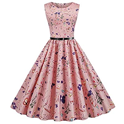 Women Casual Vintage Sleeveless Print Dress 1950s Housewife Evening Party Prom Dress Pink from Oyedens
