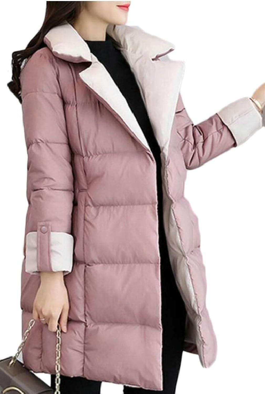 Gocgt Women Packable Light Weight Long Down Jacket Warm Lapel Coat