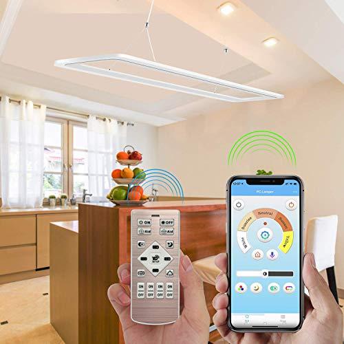EYLM Dimmable LED Deckenleuchte, höhenverstellbare Kronleuchterleuchte Pendelleuchten mit Handy App und Fernbedienung, 45W Hängeleuchten für Esszimmer, Wohnzimmer, Büro, Küche, Restaurant