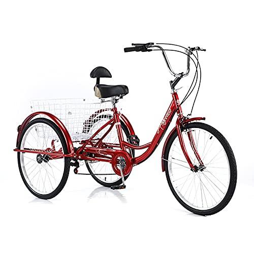 Triciclo para Adultos Bicicleta Bicicleta Adulta 24in 3 Motos De Ruedas con Cesta De Compras Y Respaldo del Asiento Three Wheel Cruiser Bike 7 Speed Bicycle para Personas Mayores, Mujeres, Hombres