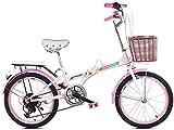 20 Pouces vélo Pliant Shifting - Les Hommes et Les Femmes Shock Absorber vélo - Double Disque de Frein vélo Pliant Shifting - Lady Adulte Vélo, Bleu (Color : Pink)