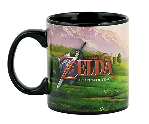 The Legend of Zelda (LoZ) OFFICIAL Ocarina of Time: Link Riding Epona with Navi PREMIUM Ceramic Coffee Mug, 16oz