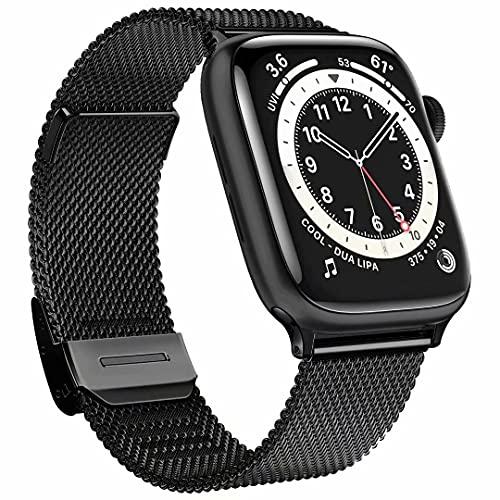 Fengyiyuda compatible avec bracelet Apple Watch 38mm 42mm 40mm 44mm pour femme homme, acier inoxydable Bracelets métalliques avec fermoirs à boucle réglables pour Iwatch Series SE/6/5/4/3/2/1