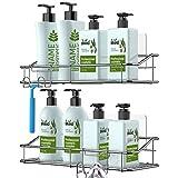 Nieifi Estantería para la ducha con almacenamiento, con adhesivo, sin taladrar, de acero inoxidable y con ganchos para el lavabo, el lavadero, el aseo, el baño… Paquete de 2 unidades
