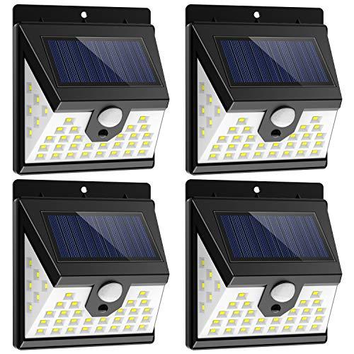 Nacinic solarlampe bewegungsmelder aussen, 40 LED solarleuchten für außen 270 °Weitwinkel Drahtlose wandleuchte IP65 Wasserdicht mit 3 Modi, Anzug für Zaun, Haustür, Garten, 4 Pack