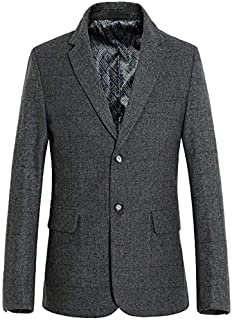 Men's Clothing Men's plaid casual woolen suit, winter short coat windproof cold cotton windbreaker, lining plus cotton, anti-pilling/wind wrinkle/washable (Color : Gray, Size : XL) Clothing autumn and