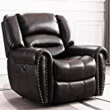 Best furnitureElectric Recliner Chair, Breathable Bonded Leather Classic Home Theater Single Sofa Recliner Seating with USB Port, Brown