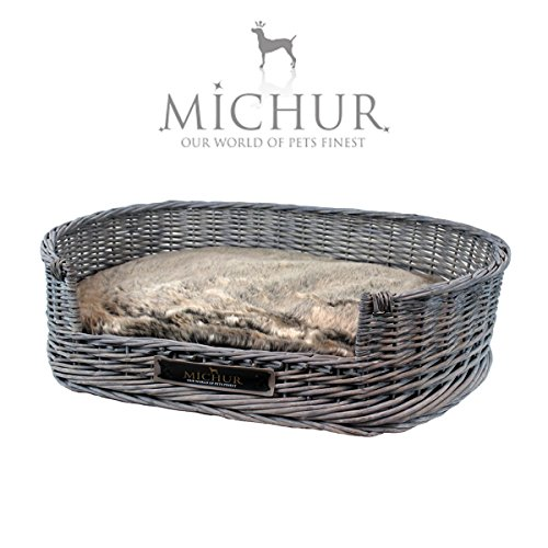 MICHUR GRACE, Dog Bed, Cat Bed, Dog Basket, Dog Sofa, willow, rattan, Gray