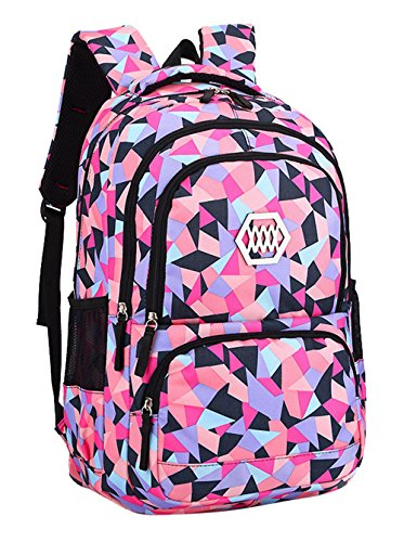 Bansusu Geometric Prints Primary School Student Satchel Backpack For Girls Boys Preppy Schoolbag