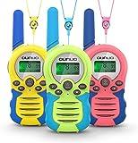 OUNUO Walkie Talkie para niños 3pcs, 8 Canales Radio de 2 vías, Juguetes, Linterna LCD retroiluminada, Rango de 3 Millas para Actividades Infantiles, 3 Cordones