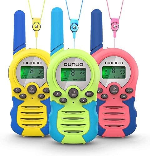 OUNUO Walkie Talkie para niños 3pcs, 8 Canales Radio de 2 vías, Juguetes, Rango de 3 Millas para Actividades Infantiles, 3 Cordones