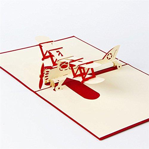 Medigy Carte d'Anniversaire Faite à Main 3D Pop Up Kirigami Creux Le Vol Pliable Carte Postale de Voeux pour Anniversaire Mariage Saint Valentin avec Enveloppe Rouge
