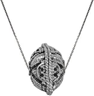 izaara 92.5 Silver Sterling Hallmark Silver Oxidised Pendant with Chain for Women