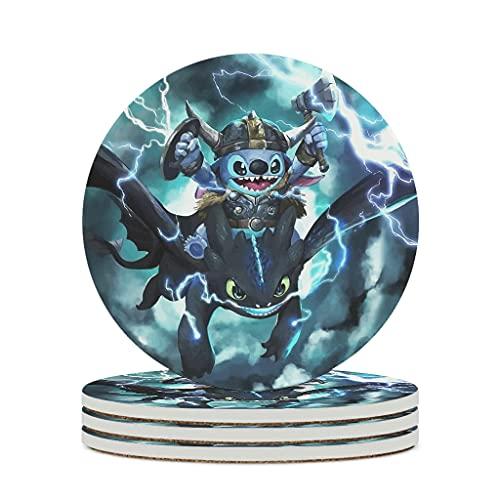Youturnnow Juego de 4 posavasos de cerámica con base de corcho, redondos, para vasos, jarrones, velas, 10 cm, color blanco, 6 unidades