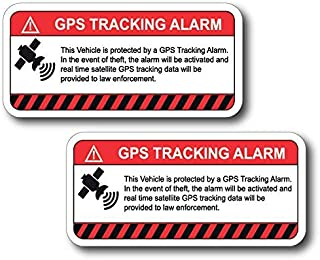 (2 Pack) This Vehicle Protected by GPS Tracking Warning Sticker - Decal Self Adhesive Sign 4