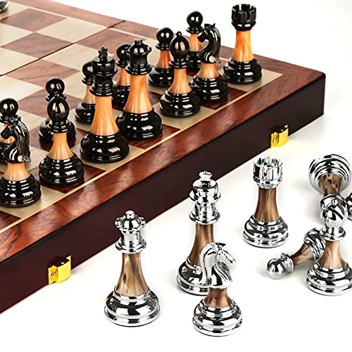LAIDEPA Schachbrett Holz, Mit Internen Speicher Faltende Schachspiel Edel Glänzende Schachfiguren, Für Anfänger, Kinder Und Erwachsene Schach Geschenke,45 * 45 * 3.5cm