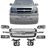 New Front Grille Chrome Center Bar + Headlight & Signal Lamp + Brackets Support Left Driver & Right Passenger Side For 2003-2006 Chevrolet Silverado 1500 2500HD 3500HD Direct Replacement 10396912