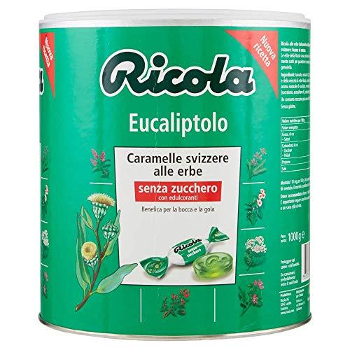 Ricola, Caramelle Balsamiche alle Erbe, Senza Zucchero, Gusto Eucaliptolo - Barattolo da 1kg