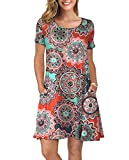 KORSIS Women's Summer Floral Dresses T Shirt Dress Round Flower Orange XL