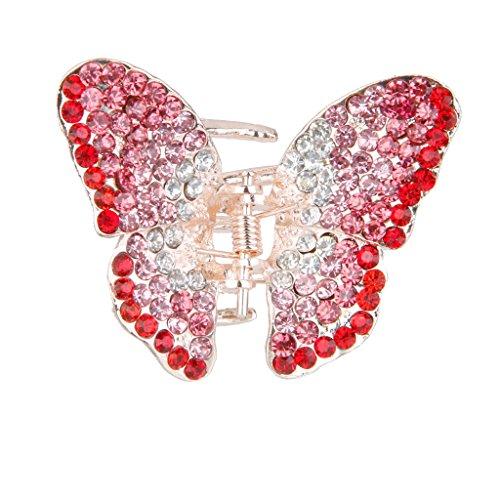P Prettyia Metall Strass Haarklammer Schmetterlinge Haarspange Kleiner Schmetterling Haarschmuck - Rosa + Rot