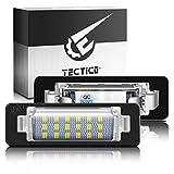 TECTICO LED Luces matrícula coche Lámpara Numero plato 6000K 3582 SMD CanBus No hay error Xenón Blanco para W210 E300 E320 E420 E430 E55 W202 C230 C280 C43 AMG,2 Piezas
