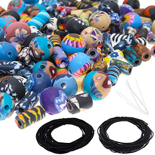 Fun-Weevz 150 PCS Assorted Polymer Clay Beads for Jewelry Making Adults, 6mm to 12mm Round and Tube Crafts Bead Kit, Includes Black Elastic and Wax Cord, Handmade DIY Craft Supplies Kits