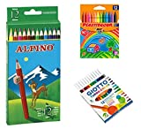 Pack de caja 12 Ceras Plastidecor / 12 Lapices Alpino / 12 Rotuladores Giotto