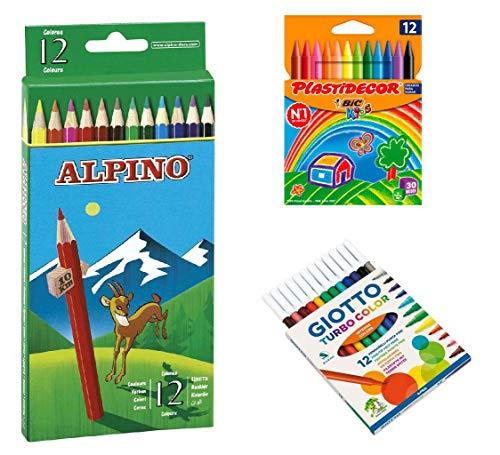 Pack de caja 12 Ceras Plastidecor / 12 Lapices Alpino / 12