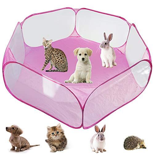 YAVO-EU Tenda per Gabbia di Animali di Piccola,Tenda per Piccoli Animali Box per Animali Portatile Tenda a Gabbia Pieghevole,per Cavie Conigli Criceti (Pink)