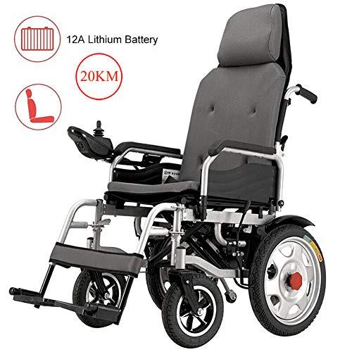 Nobuddy Sillas de Ruedas Eléctrica Ligera Plegable para Mayores discapacitados, batería de Litio de 12A, Motor Dual de 250W,Soporta 120KG,Modo Manual/Eléctrico Conmutable
