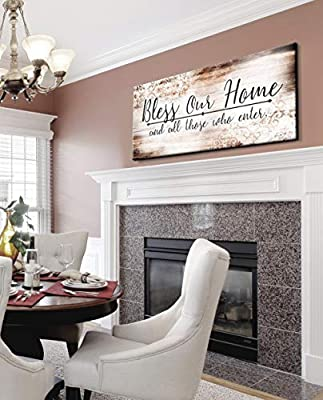 Sense of Art | Bless Our Home Quote | Wood Framed Canvas | Ready to Hang Family Wall Art for Home and Kitchen Decoration by Sense Of Art