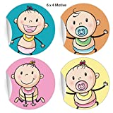 24 lustige Baby Aufkleber mit süßen Schnuller Kindern, MATTE universal Papieraufkleber für...