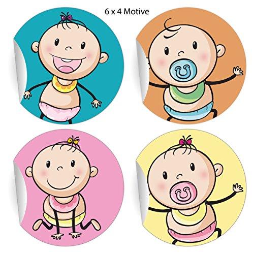 24 lustige Baby Aufkleber mit süßen Schnuller Kindern, MATTE universal Papieraufkleber für Geburt, Taufe und Baby Geschenke, Etiketten für Tischdeko, Pakete, Briefe und mehr (ø 45mm