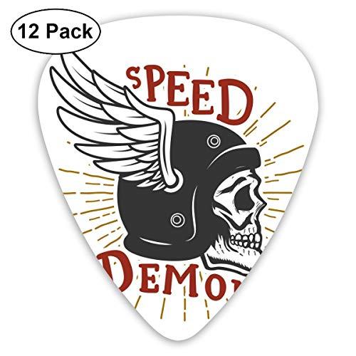 Gitaar Pick Speed Demon Schedel In Gevleugelde Helm Ontwerp Element Voor Embleem 12 Stuk Gitaar Paddle Set Gemaakt Van Milieu Bescherming ABS Materiaal, Geschikt voor Gitaren, Quads, Etc
