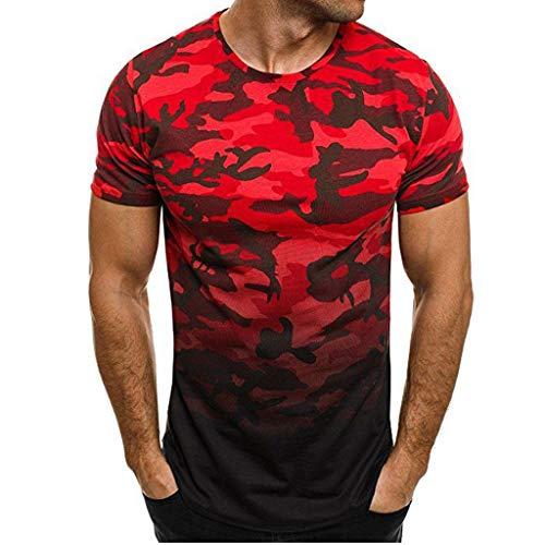 Fannyfuny Herren Rundhals Camouflage Farbverlauf Kurzarm Hemd T-Shirt Männer O-Neck Muskel Slim Fit Fitness Tee Quick-Dry für Gym Jogging Sweatshirt Mode Persönlichkeit Casual Oversize Tops