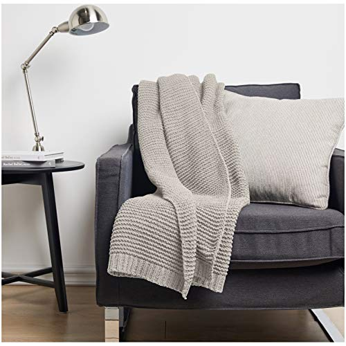 AmazonBasics Knitted Chenille Throw Blanket - 60 x 80 Inches, Light Grey