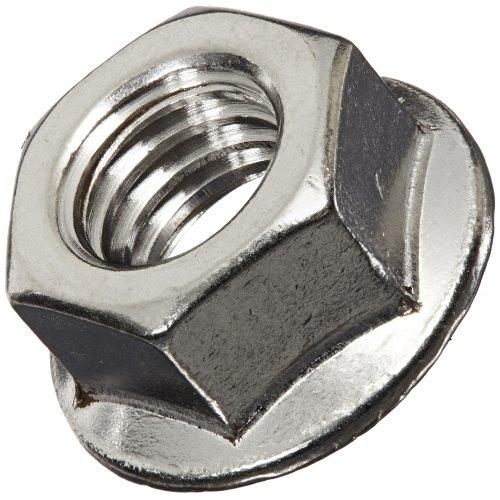 18-8 Stainless Steel Hex Flange Nut, Plain Finish, Self-Locking Serrated Flange, ASME B18.2.2, 3/8