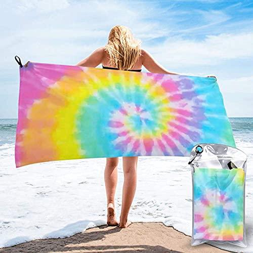 Toalla de playa ultra suave pastel Tie Dye Rainbow psicodélico minimalismo toalla de baño con bolsa, toalla de microfibra de secado rápido, ecológica, para gimnasio