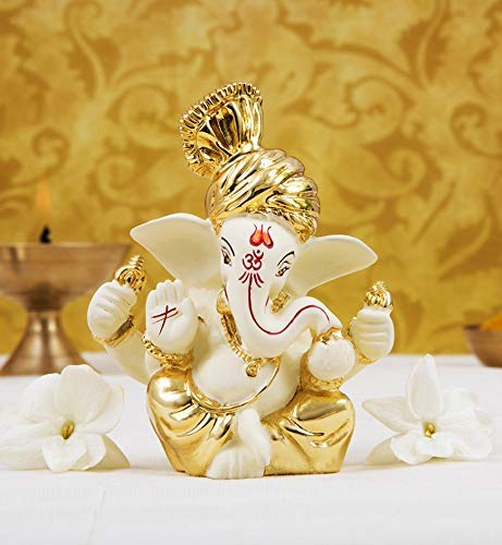 ADIYOGI Gold Art India - Ganesh (6 x 4 x 3 cm), color dorado