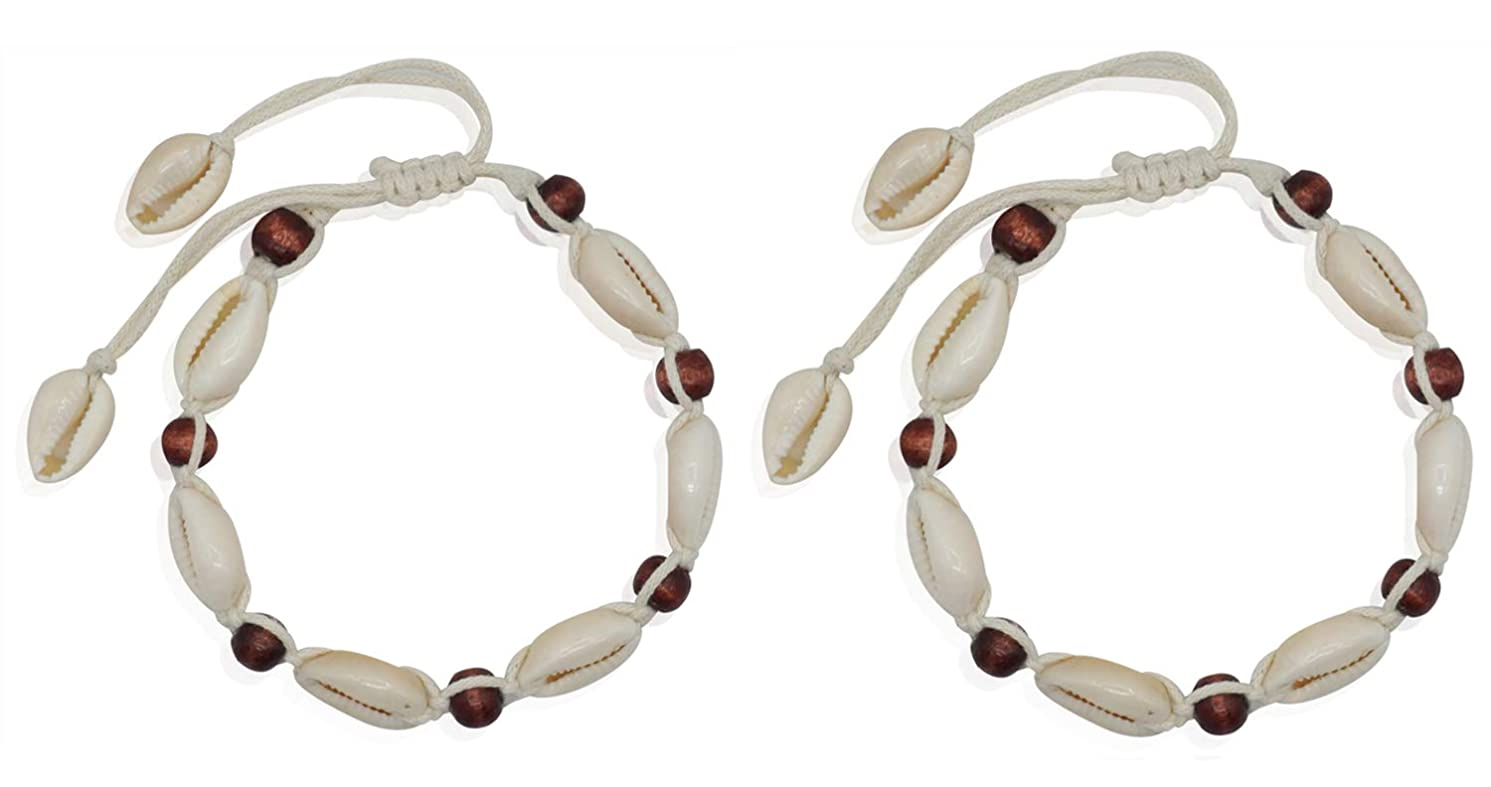 Bienvenu 2 Piece White Ankle Bracelet Crochet Anklets Barefoot Sandals Foot Jewelry