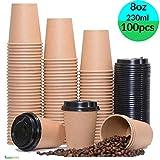 [8oz, 100 Pieces Paper Cups + Free 100 Plastic Lids]Disposable Bio Paper Coffee