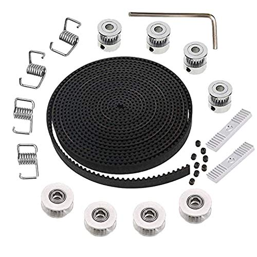 5M GT2 Timing Belt Pulley 6mm Width 3D Printer Timing Belt Kit+ 4pcs 20 Teeth 5mm Bore Timing Pulley Wheel + 4pcs Idler + 4pcs Tensioner Spring Torsion + 2pcs Gear Clamp Mount Block with Allen Wrench
