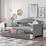 Wooden Twin Daybed Frame with 2 Drawers,Wooden Sofa Bed for Bedroom Living Room,Twin Size Daybed with Storage Drawers (Gray)