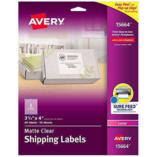 """Avery 15664 Versand-Etiketten, matt, transparent, mit Sure Feed Technologie, Laser, 8,9 x 10,2 cm, 60 Etiketten, 5 Packungen 5 Packungen 3-1/3\"""" x 4\"""""""